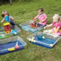 Clear Sand and Water Trays 4 Pack,children's sand and water equipment, children's sand and water resources, children's sand and water toys, sand and water equipment for children, sand and water materials for children